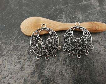 Creole chandelier connector earring, ethnic Chandelier, silver candlestick, 35 x 30 mm