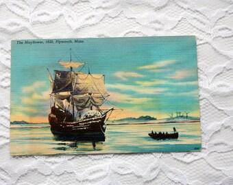 Mayflower Plymouth Massachusetts Postcard, Mayfloer postcard, linen postcard, Plymouth PostcardVintage Pilgrims