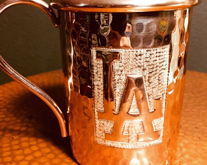 16oz Moscow Mule Hammered Copper Mug w/ LA Dodgers logo