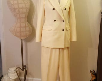 Vintage Clifford and Wills Double Breasted Cream Wool Suit Size 4P-6Wool suit/Cream wool suit/