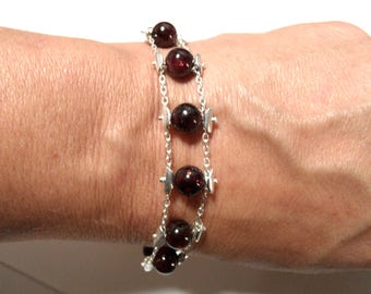 Gorgeous Bracelet Piece unique Garnet 925 sterling silver