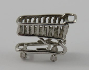 Shopping Cart Sterling Silver Vintage Charm For Bracelet