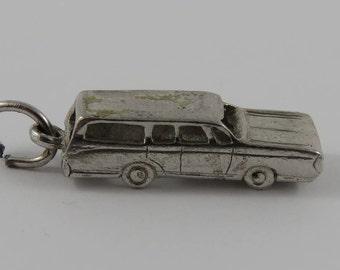 Station Wagon Sterling Silver Vintage Charm For Bracelet
