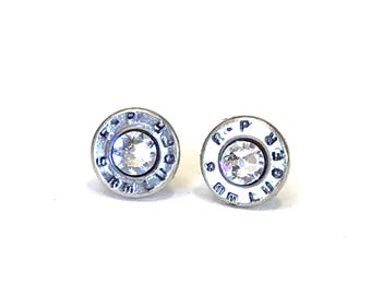 Silver 9 MM Bullet Earrings with Swarovski Crystals, Women's jewelry, Bullet earrings, Handmade jewelry, Valentine gifts, Recycled bullets