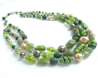 Green Art/Foil Glass Three Strand Vintage Necklace Stamped Japan/Shades of Green Swirl Glass/Faux Pearls/Olive Green Hues - Estate Jewelry