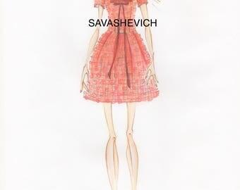 Lace dress/Little women dress/Suit color terracotta/Short sleeves dress/MACRAMÉ Lace suit