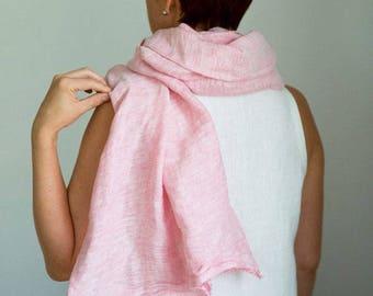 Linen scarf - Pink linen shawl - Womens gift - Fringe linen scarf - Lightweight scarf - Homemade long scarf - Lithuanian linen - Gauze scarf