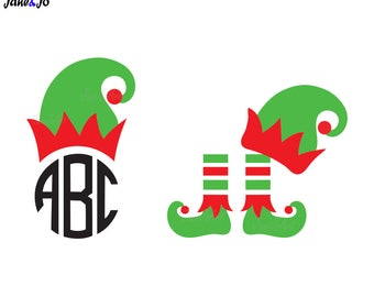 Elf hat SVG,Elf feet svg,Christmas monogram SVG,Christmas vector,Elf circut svg,Dxf Eps Pdf svg file,silhouette,vinyl cricut,elf svg,clipart