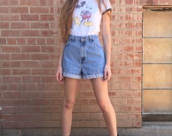 Light Wash Levi's Orange Tab High Rise Cuffed Denim Jean Shorts / Size M L Medium Large 30 / Juniors 13
