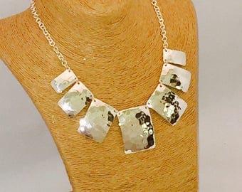 Silver Necklace square motif super glam