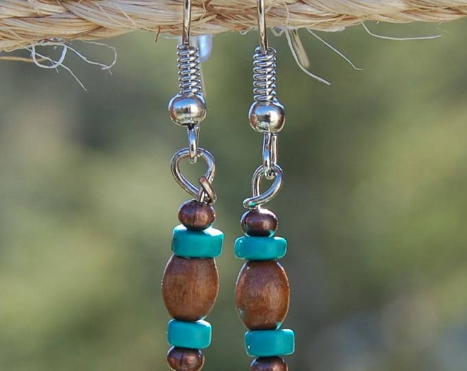 Natural Wood, Copper and Turquoise Earrings
