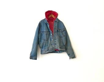 90s Gap Denim Jacket With Built In Red Hoodie - M