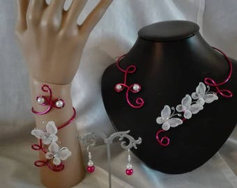 bridal set wedding bridesmaid party 3 piece aluminum wire beads White Butterfly / Fuchsia