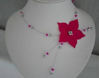 beaded bridal necklace bridesmaid jewelry pink fuchsia silk flower, fuchsia pink pearls / gray / transparent evening wedding parties
