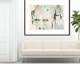 ABSTRACT ART canvas, minimalist, large abstract painting blue and cream, soothing art print, abstract wall art, abstract painting ~ Aquavert