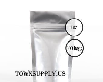 100 - 1 oz silver foil stand up pouches, food safe packaging supply, small shiny resealable ziplock bags, recloseable party favor bag
