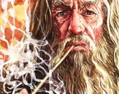 Original watercolour painting of the wizard Gandalf played by Sir Ian McKellen from the film franchise The Lord of the Rings.
