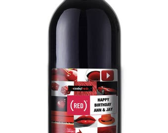 RED theme Wine label sticker