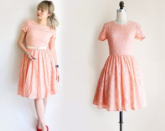 CLAIRE | Apricot-  soft peach lace bridesmaid dress with short sleeves.  vintage inspired cotton lace knee length dress.