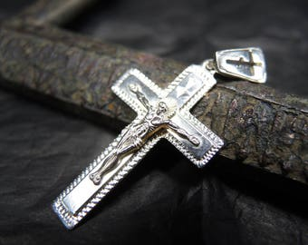 Men orthodox cross etsy vintage orthodox sterling silver cross jesus christ crucifix save and protect aloadofball Image collections
