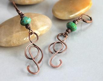 Wire Art Earrings, Copper Wire Earrings with Turquoise Glass Bead, Boho Earrings, Festival Earrings, Very Long Earrings