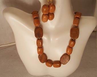 Brown Jasper necklace and earring set (JS011)