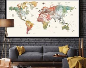 World Map Watercolor World Map | Large World Map Large | World Map Poster | Large Wall Art | World Map Wall Art | World Map Print (L127)