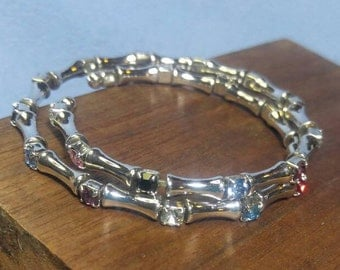 Silvertone Spring Coil Bracelet of Colorful Semi Precious Gemstones