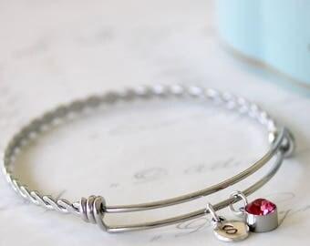 Twisted Bangle Bracelet - Personalized Bangle - Personalized Bridesmaid Gift - Birthstone Bracelet -  Everyday Bracelet - Gift Under 25