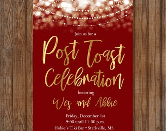 Post Toast After wedding celebration 5x7 digital invite maroon gold shower lights sparkle