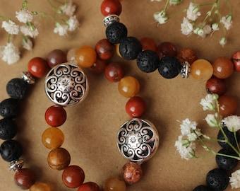 Sun Goddes; Natural Crystal Essential Oil Diffuser Bracelet, Natural Mixed Mala Bead Bracelet, Aromatherapy Bracelet, Zen Crystal Bracelet