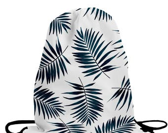 Palm Drawstring Bag School Print Sport Nature Holidays Beach Vacations Coconut Sand Beach Exotic Backpack Sack Packet Purse
