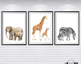 Safari Prints, Set of 3 prints, Water colour prints, Animal prints, Nursery Prints, Boys prints, Bedroom  Wall Prints