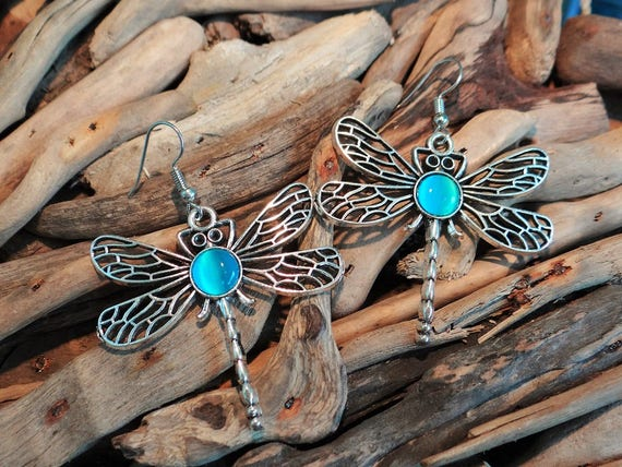 Dragonfly Earrings Dragon Fly Dragonflies Cats Eye Cabochon Blue Teal Aqua