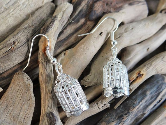 3D Bird Cage Earrings Silver Miniature Little birds in the cage sitting on a perch - 3 Dimensional Earring Ear Ring Rings Earings
