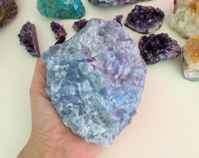 Large Calcite RAW  Healing Crystals and Stone w/ Reiki Perfect Throat Chakra Stone / Christmas Gift