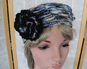 knitted wool beret, beret with corsage, blue multi wool hat, tammy with flower, blue/cream/gray hat, flower-brooch hat, wool knitted tammy