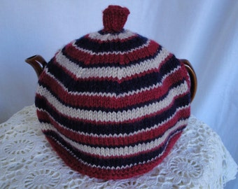 striped tea cozy, red and navy teacosy, new home gift, modern homeawares, knit teapot cover, lined wool tea cosy, navy multi teacosy