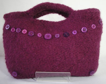 damson clutch bag, felted evening purse, wool felt clutch bag, button trim purse, knitted felt bag, purple evening bag, felt evening clutch