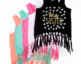 Big Sister Announcement Shirts - New Big Sister - Fringe Tank Top - fringe Dress - Future Big Sister - Promoted to Big Sister - Big Sis