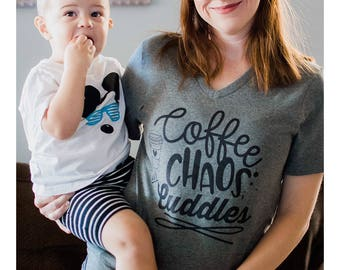 Coffee Chaos and Cuddles Adult Shirts - Coffee Shirts - Unisex Adult Shirts - Chaos and Cuddles - Mom Shirts - Funny Mom Shirts - Mother