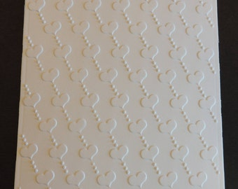 Hearts Diagonal Embossed Cardstock, Embossed Sheets, Embossed Card Fronts