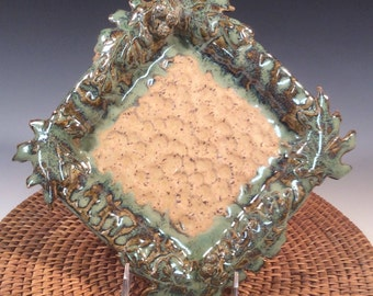 Small Square Platter with Leaves