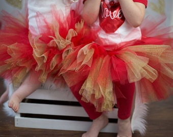 Red and glitter gold tutu, tutus for girls, photography prop, Valentine's Day tutu, Christmas tutu, first birthday tutu