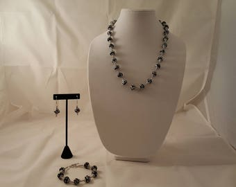 Black & White Swirl Silver Jewelry Set - Black Necklace - White Necklace - Silver Necklace - Black Bracelet - Black Earrings - Silver -White