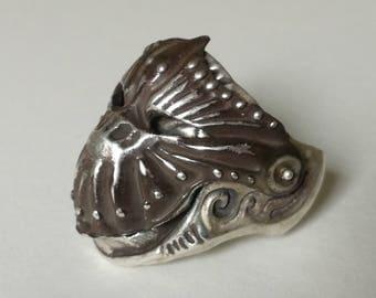 Sterling Silver Knight Ring, movable helmet-helmet ring