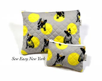 French bulldog Double-side quilted bag, zipper pouch, Dog lover, Frenchie Bag,coin purse, Polka dots kawaii Bag, Set of bags, Makeup bag