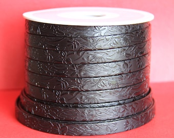 "MADE in EUROPE 24"" flat leather cord, 10mm embossed leather cord, 10mm floral embossed leather cord (509/10/01)"