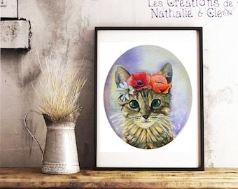 Downloadable illustration / watercolor / flower Crown kitten