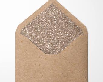 Gold Glitter Lined Envelopes. Pack of 10